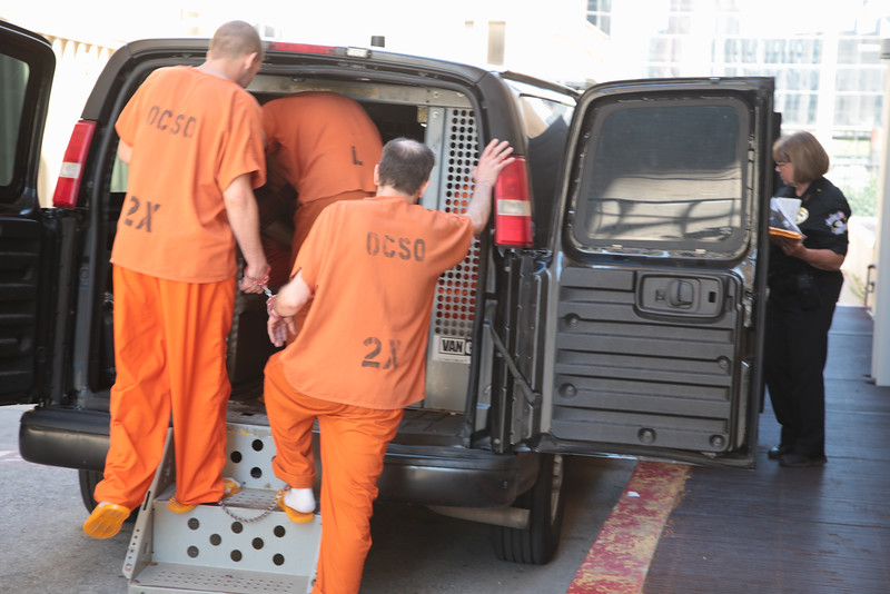 Inmates being moved from the Oklahoma County Courthouse to the Oklahoma County Jail.