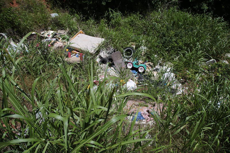 Illigal trash dumping is an ongoing problem for residents at Capt Creek Toad and Wilshire Drive in southwest Lincoln County, OK.