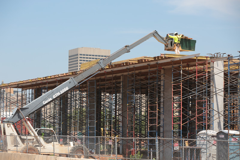 Construction of the Steelyard Apartments in the Bricktown district of Oklahoma City, OK.