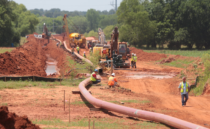 A new pipeline being laid near Highway 177 near Wellston, OK.