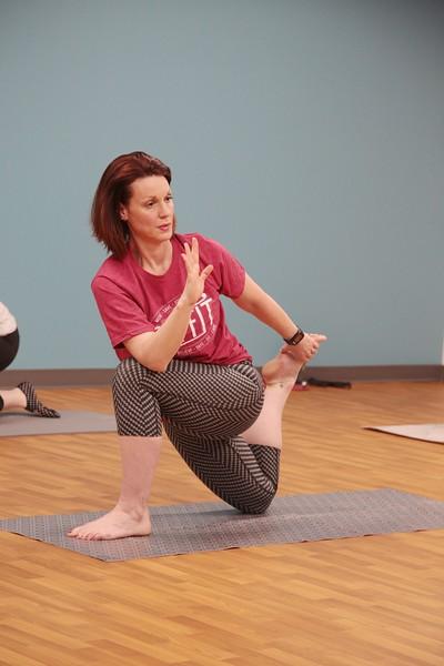 Katy Soper takes a Pi-Yo class through OU's Fit program.
