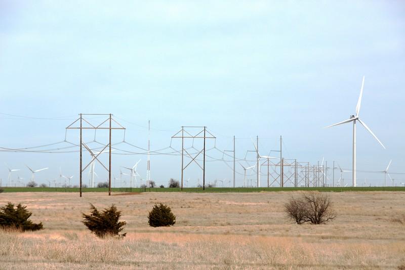Wind turbins located north of El Reno, OK.