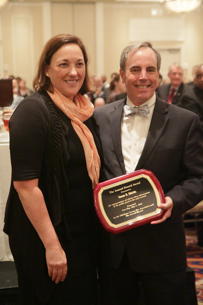 Susan Shields, an attorny with Macafee and Taft, recieves the Jounal Record award at the Law Day Luncheon in Oklahoma City.