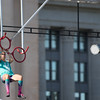Hopefulls forthe television show American Ninja Warrior tryout in front of the Oklahoma State Capitol.
