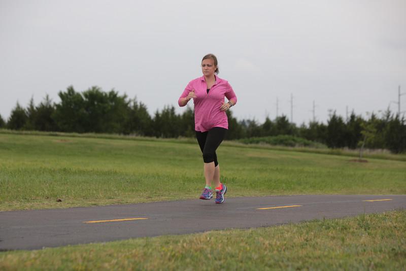 Rachel Janway running at Mitch Park in Edmond, OK.