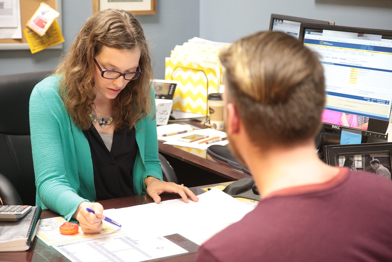Counsler Hannah Leftwich working with a student at the University of Central Oklahoma in Edmond, OK.