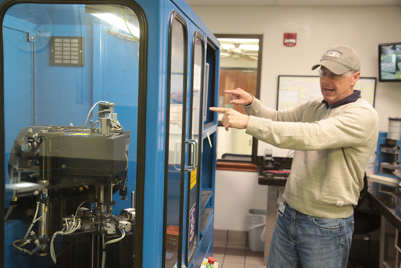 Plant Manager Tim Popp explains quality control methods at Metal Container Corporation in Oklahoma City, OK.
