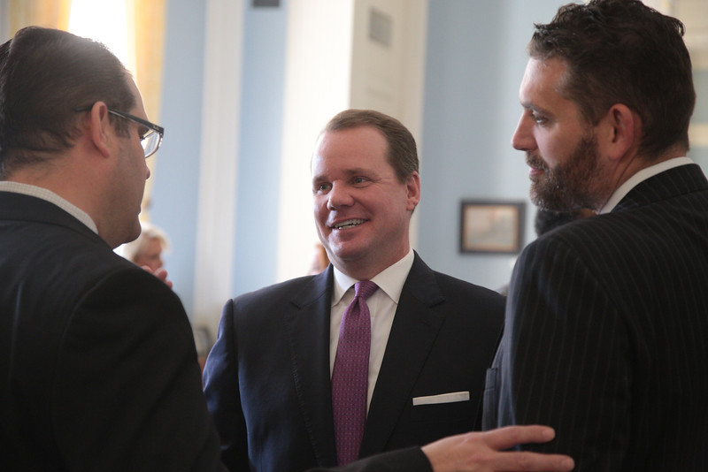 Oklahoma Lt. Governer Todd Lamb meets with small business owners in the Blue Room of the Oklahoma State Capitol.