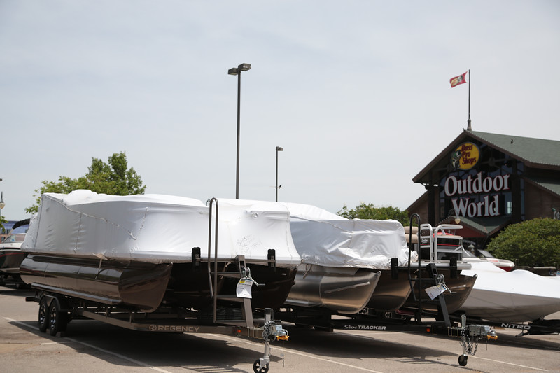 Pontoon boats for sale at Bass Pro Shoo in Oklahoma City, OK.