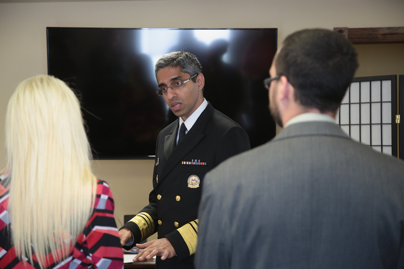 US Surgan General Dr. Vivek Murthy visited with patients and staff at Catalyst Behavioral Services in Oklahoma City.
