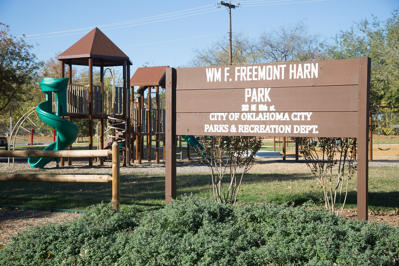 The City of Oklahoma City recieved a grant from HUD,  as part of the sustainable neighborhoods initiative, to create WM F. Freemont Harn Park located at 1701 N Stiles Ave.
