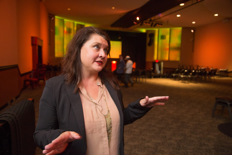 Amy Curran, Oklahoma site director for Generation Citizen preparing for an event at the Will Rogers Theater in Oklahoma City.