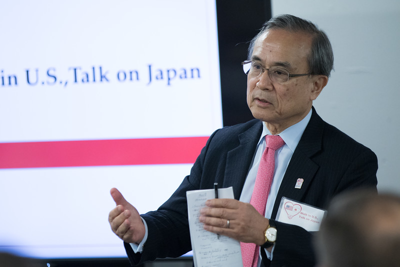 "Japanese Ambassador Shotaro Oshima speaks at UCO's downtown campus in Oklahoma CIty as part of ""Walk in U.S., Talk on Japan"" delegation visiting communities throughout America."
