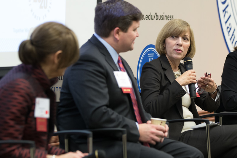 Mary Ricciardello, on the Board of Directors for Devon Energy, speaking on a panel at National Conversation on Board Diversity held at the Meinders School of Business at Oklahoma City University in Oklahoma City.
