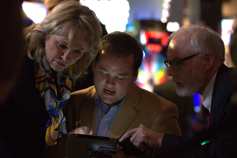 Governer Mary Fallin confers with staff at the Oklahoma Republican watch party being held at Main Event located at 1441 W Memorial in Oklahoma City.