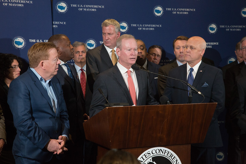 Oklahoma City Mayor Mick Cornet speaking at a press conferance at The US Conferance of Mayors.
