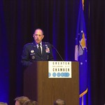 Lt. General Lee K. Levy II speaking at the Greater Oklahoma City Chamber State of the Aerospace Defense Industry luncheon.