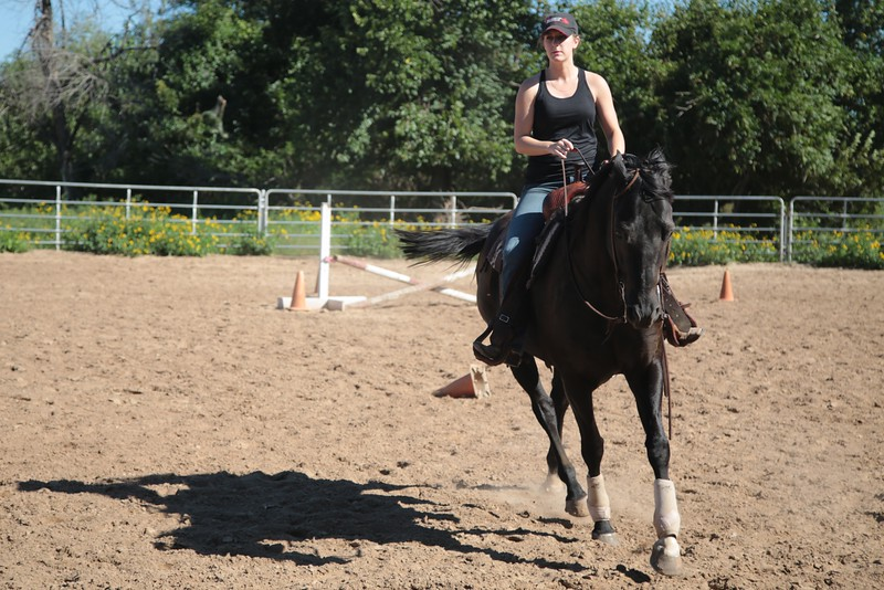 The Southern Nazerene University Equestrian Team practicing at 4700 N Thompkins Road in Bethany, OK.