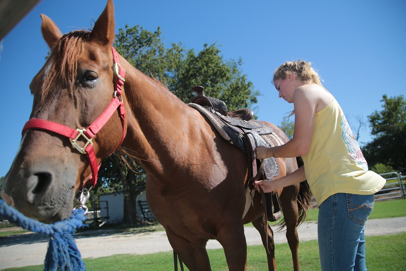 Christa Hamlet saddles a horse before practicing for the Southern Nazerene University Equestrian Team.