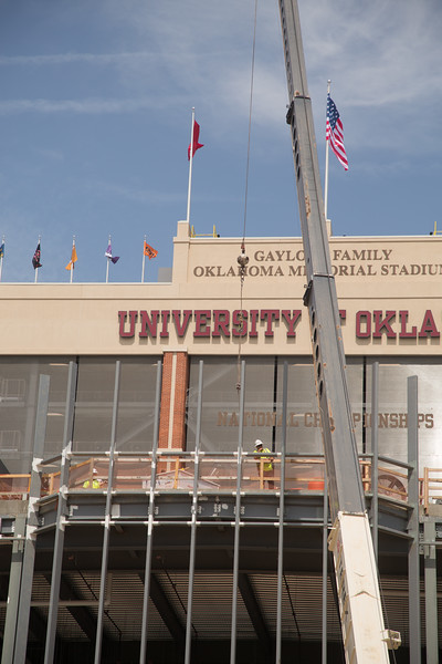 Construction on the southside of the University of Oklahoma's Memorial Stadium in Norman, OK.