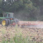 A cornfield being plowed in Harrah, OK.