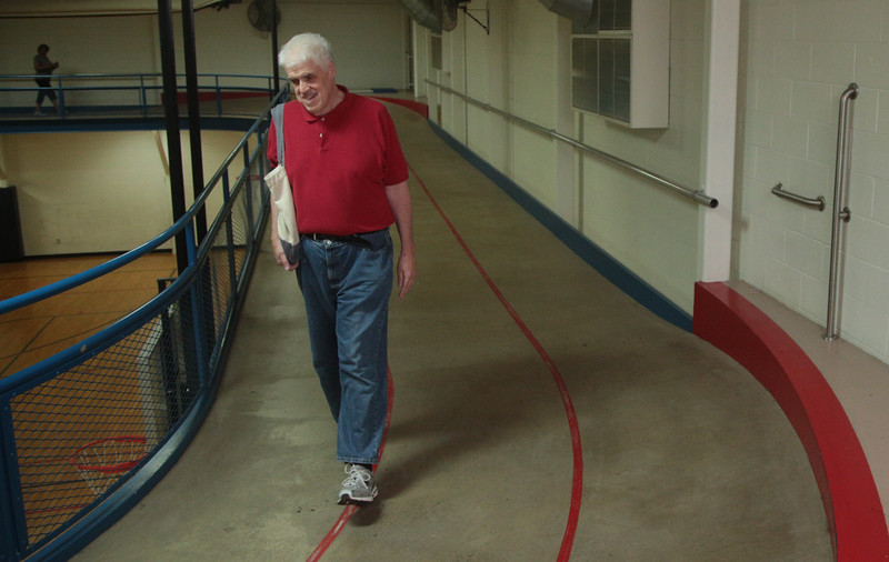 Larry Stream walks nineteen laps every day at the YMCA.