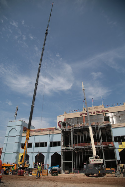 Construction on the south side of Memorial Stadium at the University of Oklahoma in Norman, OK.