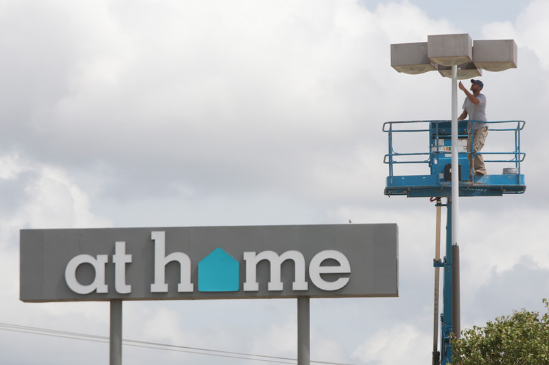 At Home, located at 701 MacArthur Ave in Oklahoma City, is updating their store with new entry doors and new paint.