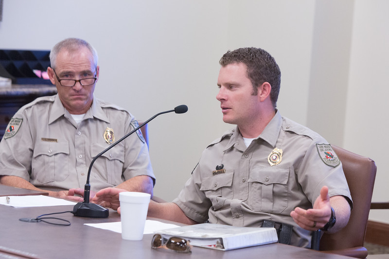 OklahOklahoma State Game Warden Laarry Green and Spencer Grace spoke at an interim study under the House Wildlife Committee.