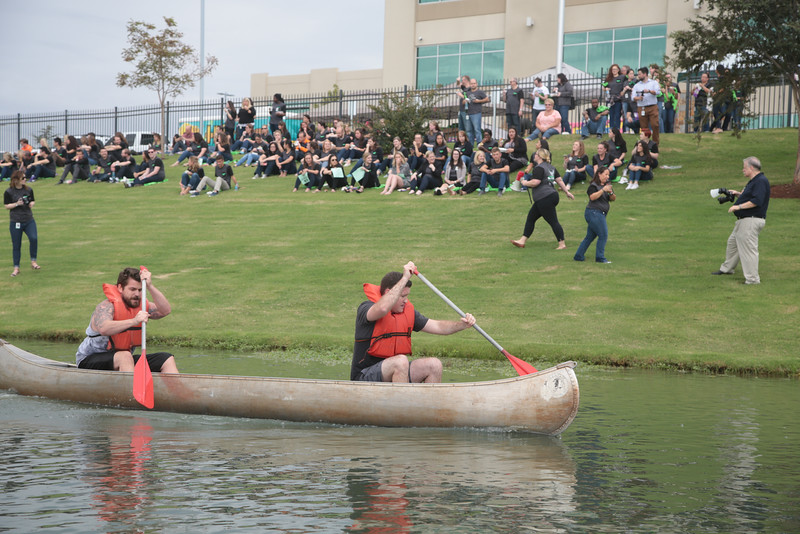 Paycom employees participated in canoe races at their offices located at 7500 W Memorial in Oklahoma City.