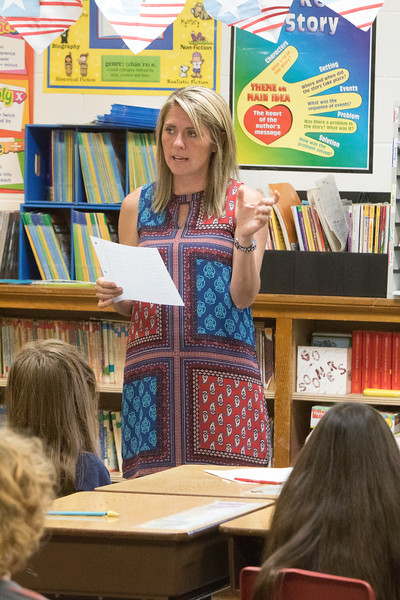Mrs. Stacey Haynes goes over spelling words in her third grade class in Washington, OK.