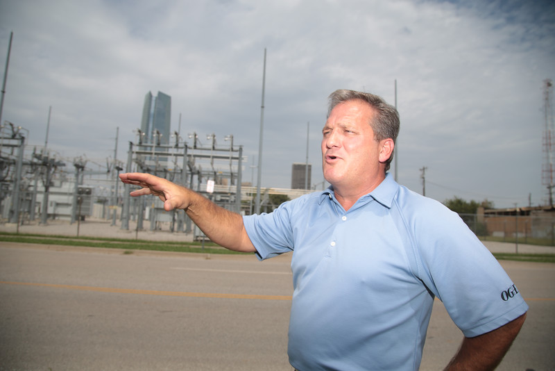 Randy Lewis with OGE explains how the power substation at Robinson Ave and SW 6th Street will be moved south of the Oklahoma River in Oklahoma City.