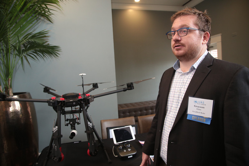 Grayson Estas with Cloud Deck Media at the UAS Conferance held at the Renaissance Waterford Hotel located at 6300 Waterford Blvd in Oklahoma City.
