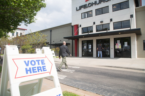 People voting dring a special election at Life Church located at 4600 E 2nd Street in Edmond, OK. One of the questions on the Edmond ballot will decide if Spring Creek Plaza shopping center can expand towards Hafer Park.