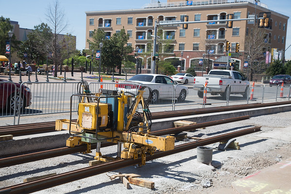 Construction of the street car tracks in front of the Bricktown Ballpark in downtown Oklahoma City.