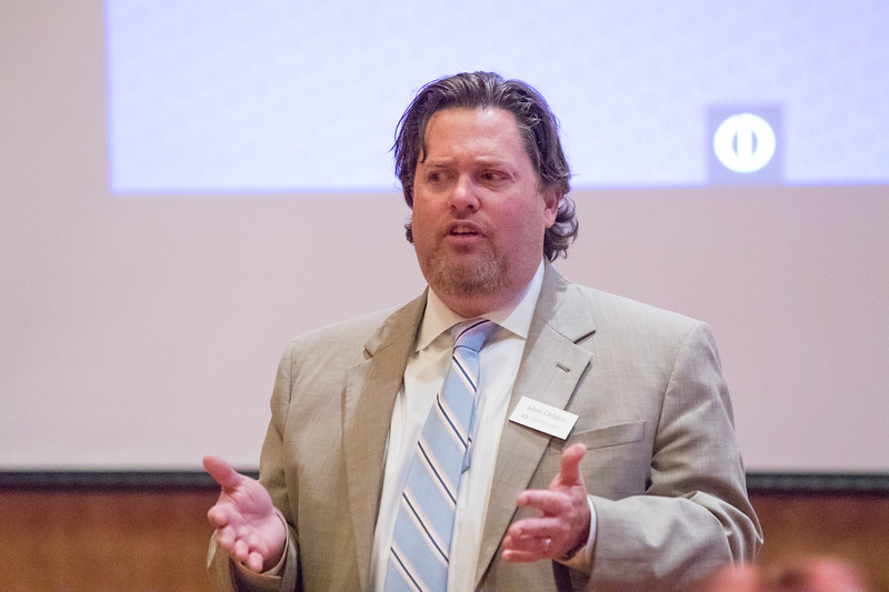 Attorney Adam Childers, with Crow and Dunlevy in Oklahoma City, speaks about  paid and unpaid leave at a conferance for human resource professionals in Norman, OK.