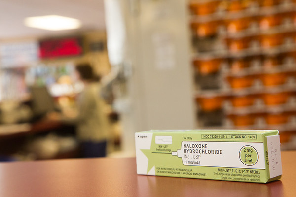 Naloxone hydrochloride, sold under the name Narcan, at Thrifty Drug Store located at 10904 N May Ave in Oklahoma City.