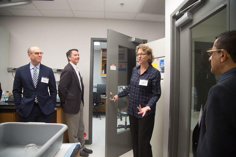 Holly Van Remmen with Oklahoma Medical Research Foundation gives a tour of her lab to pharmasutical repersenitives as part of a Bioventure Forum on fund raising for researchers.