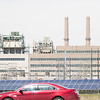 Solar panals owned by OGE, Corp in front of the Mustang Power Plant in Oklahoma City, OK.