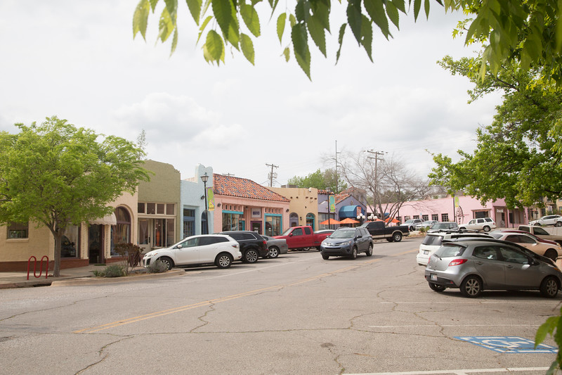 The Paseo Arts District on Paseo road in Oklahoma City, OK.