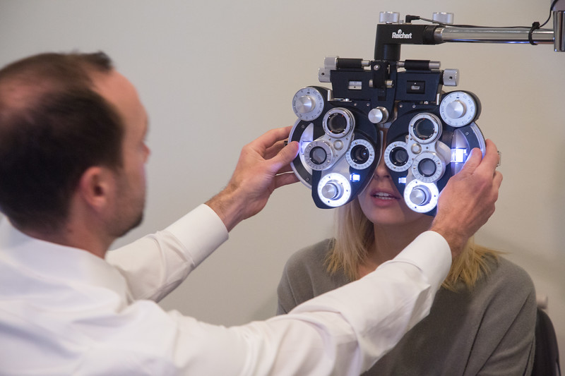 Dr. Cody Greenhaw gives an eye examination at Midtown Optics located at 1106 Classen Dr. in Oklahoma City, OK.