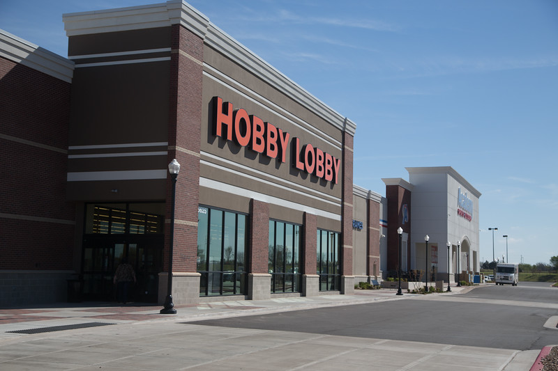 Hobby Lobby and Acdemy Sports and Outdoors located at SE 15th Street and Sooner Rd. in MidWest City, OK.
