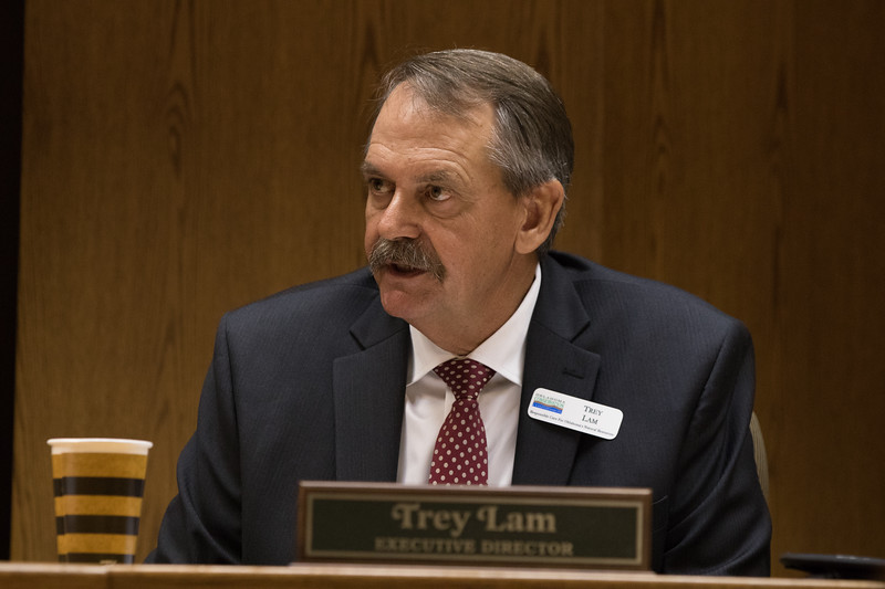 Executive Director Trey Lam during a meeting of the Oklahoma Conservation Commision held at the Oklahoma Department of Agriculture in Oklahoma City.