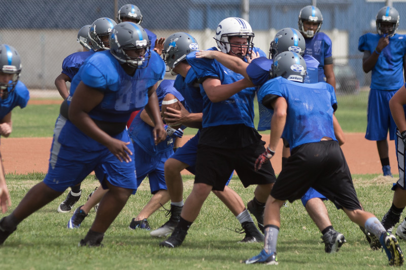 The high school football team practicing at Coyle Public Schools in Coyle, OK.