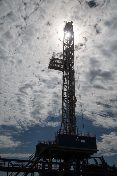 A drilling rig operated by Patterson UTI near Minco, OK.