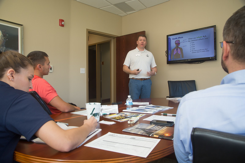 Saftey Coordinator Phil Browder teaches a saftey course on the dangers of hydrogen sulfide at OIPA located at 500 NE 4th Street in Oklahoma City.