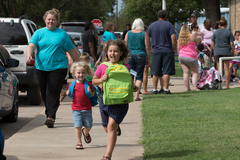 Students leaving elementry school in Coyle, OK.