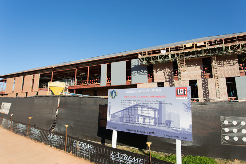The new arts building is under construction on the campus of the University of Central Oklahoma in Edmond, OK.