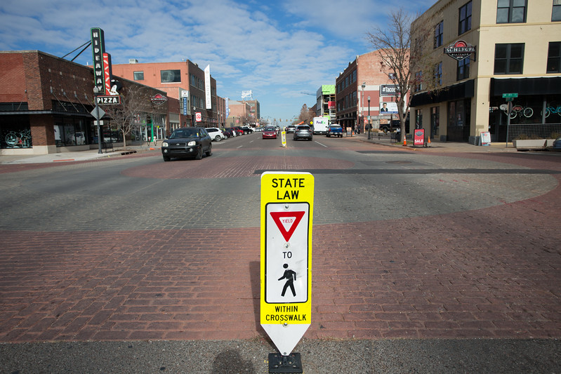 The crosswalk at Broadway Ave and 8th St. in Oklahoma City.