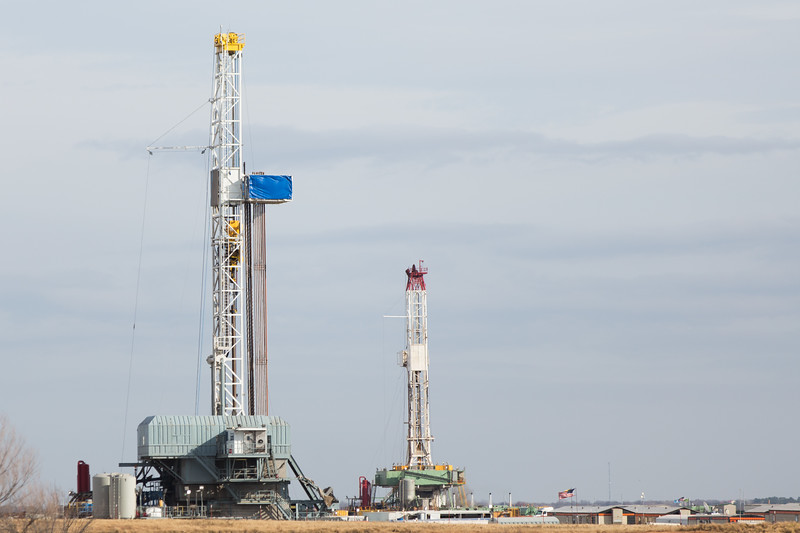 Two rigs operated by Continital Resources located on Highway 62 just east of Tabler, OK.
